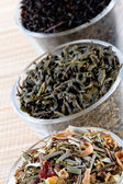 Three kinds of dry tea in glasses — Stock Photo