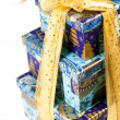 Pyramid of blue gift boxes - Stock Photo