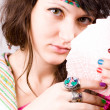 Soothsayer with scrying cards - Stock Photo