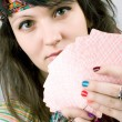Stock Photo: Soothsayer with scrying cards