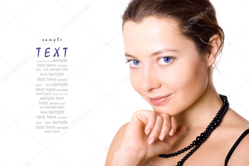 Portrait of young attractive woman on white background (sample text)  Stock Photo #4714319