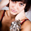 Brunette lady with bracelets — Stock Photo