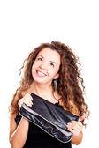 Привлекательная женщина, держа сумку — Стоковое фото