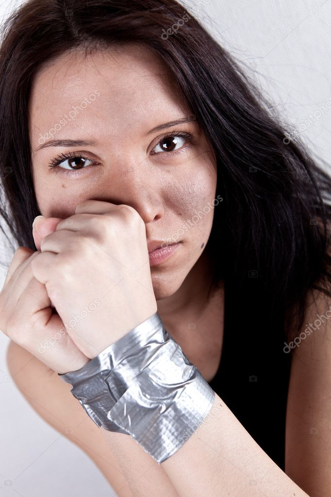 Kidnapped young woman, hostage closeup  — Stock Photo #5058110