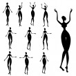 Silhouettes of African women — Stock Vector
