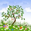 Vector de stock : Flower clearing with fruit trees