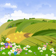 Rural landscape with flower meadow - Stock Vector