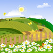 Rural landscape with a fence — Stock Vector