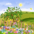 Royalty-Free Stock Vector Image: Rural landscape with fruit trees and a fence