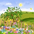 Rural landscape with fruit trees and a fence — Stock Vector