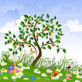 Flower clearing with fruit trees — Vector de stock