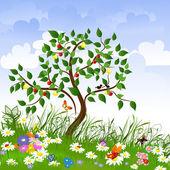 Kwiat, rozliczeń z drzew owocowych — Wektor stockowy