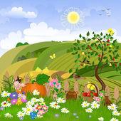 Wiejski krajobraz z drzew owocowych — Wektor stockowy