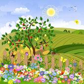 Wiejski krajobraz z drzew owocowych i ogrodzenia — Wektor stockowy