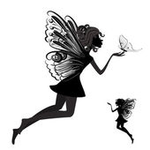 Silhouette of a fairy with butterfly — Stock Vector
