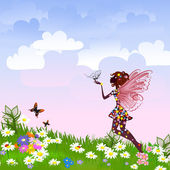 Celestial Fairy on a flower meadow — Stock Vector
