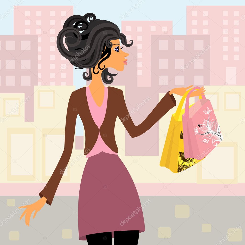 Girl with shopping — Stock Vector #4064613
