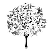 Abstract tree romantic fancy — Stock Vector