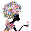 Girl with flowers on her head — Stock Vector #4134206