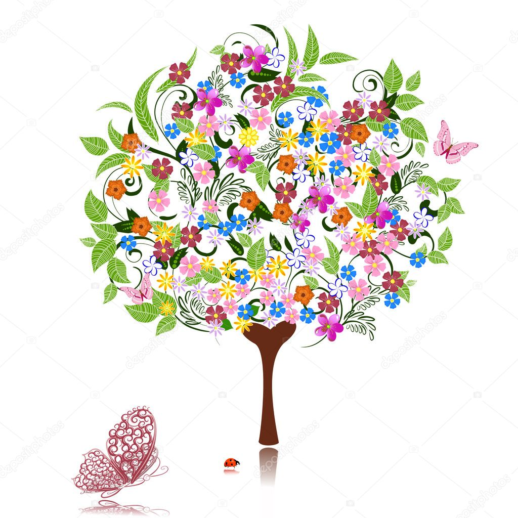 Abstract tree with flowers  Image vectorielle #4134215