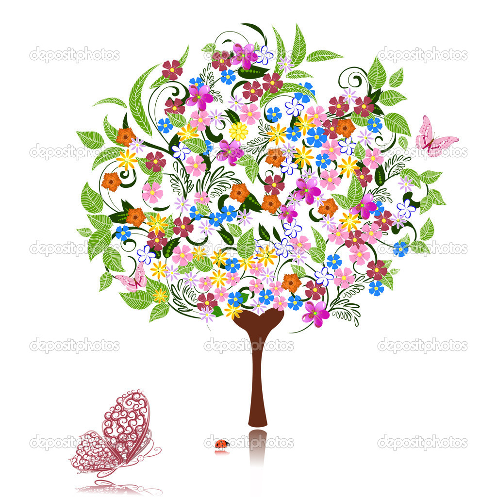 Abstract tree with flowers  Stock Vector #4134215