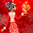 Royalty-Free Stock Imagen vectorial: Santa girl with presents