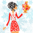 Santa girl with presents — Stock Vector
