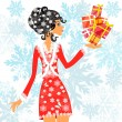 Santa girl with presents — Stockvectorbeeld