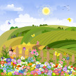 Rural landscape on a sunny day — Stock Vector
