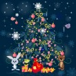 Christmas tree with toys — Stock Vector