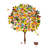 Ornamental tree in autumn — Stock Vector