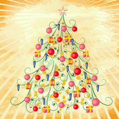 Christmas tree on grunge background — Stock Vector