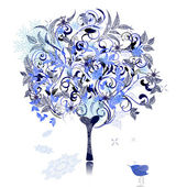 Winter snow tree decorated — Stock Vector