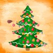 Stock Vector: Christmas grunge background with a tree
