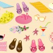 Beach accessories - Stock Vector