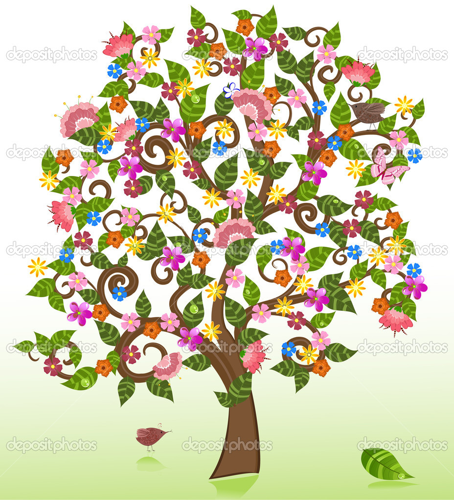 Summer abstract floral tree — Stock Vector #4321166