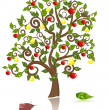 Ornamental tree with an apple and pear — Stock Vector