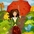 Stock Vector: Girl fall under the umbrella