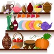 Tableware home on the shelves - Stock Vector
