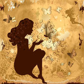 Grunge girl with butterflies — Stock Vector