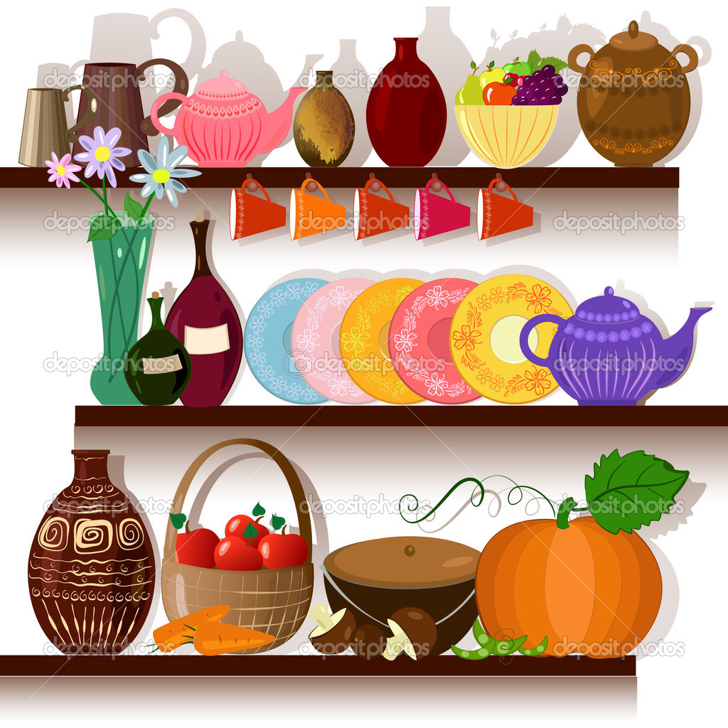 Tableware home on the shelves — Stock Vector #4539573