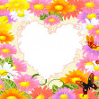 Stock Vector: Frame is the heart of the daisies