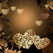 Royalty-Free Stock Vectorielle: Gold valentines with a bird