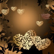 Gold valentines with a bird — Imagen vectorial