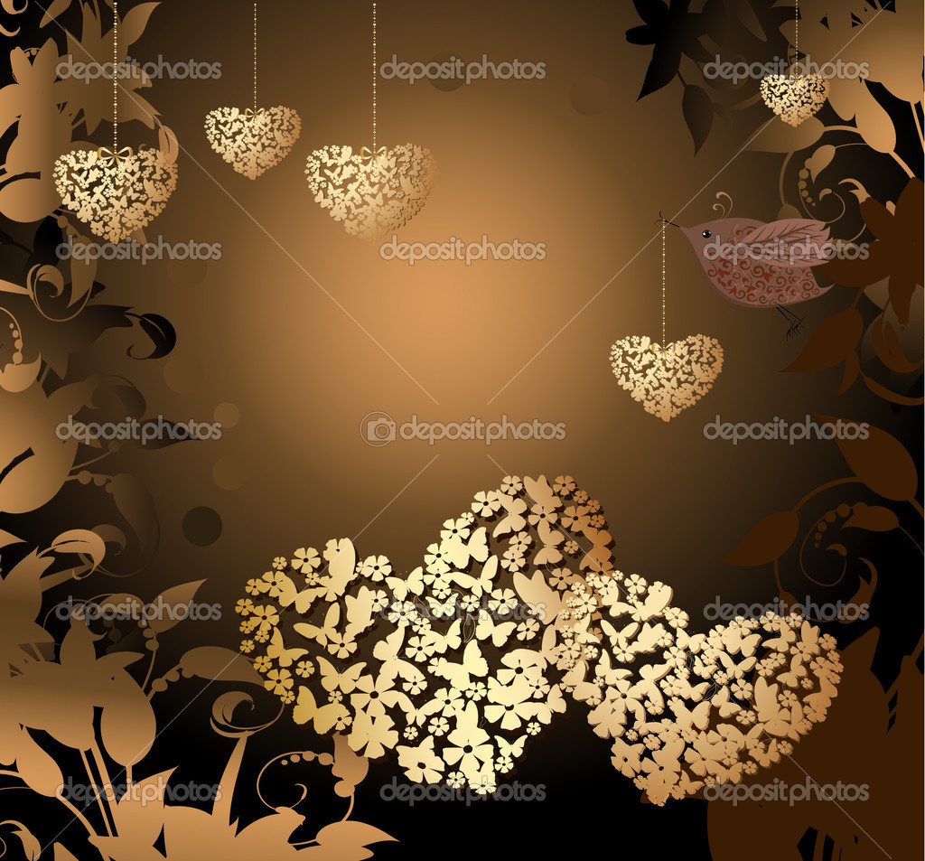 Gold valentines with a bird — Stock Vector #4587267