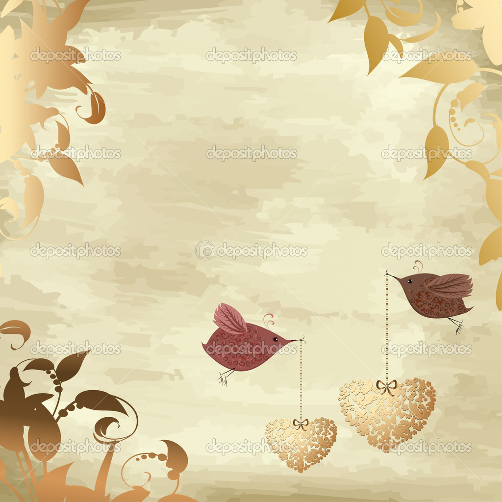Gold valentines with a bird — Stok Vektör #4587268