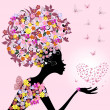 Girl with a valentine of butterflies — Vector de stock