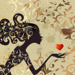 Girl and a bird with a valentine — Imagen vectorial