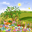 Rural landscape with a fence - Stock Vector
