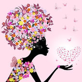 Girl with a valentine of butterflies — Stock Vector